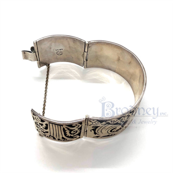 Taxco Sterling Silver Wide Bangle Bracelet