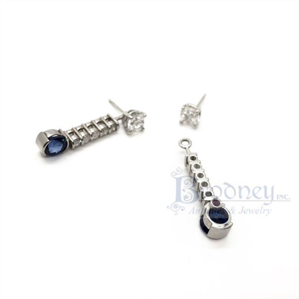 Platinum, 14kt Gold, Diamond and Sapphire Day/Night Earrings