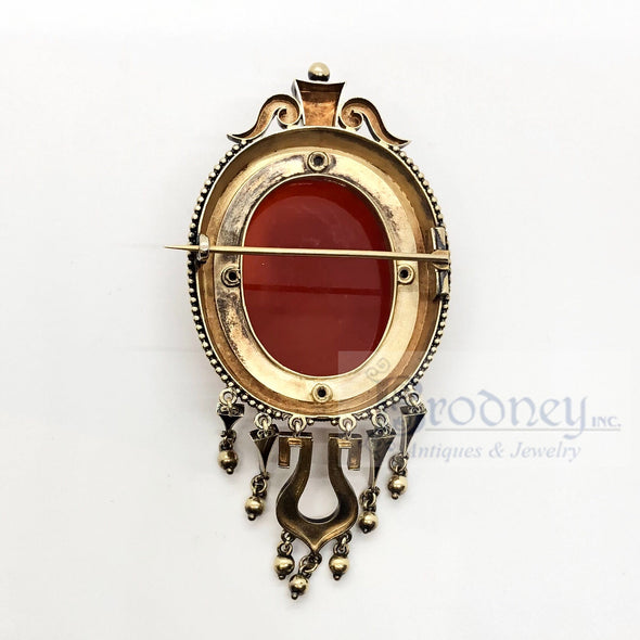 14kt Gold Carved Stone Cameo Brooch