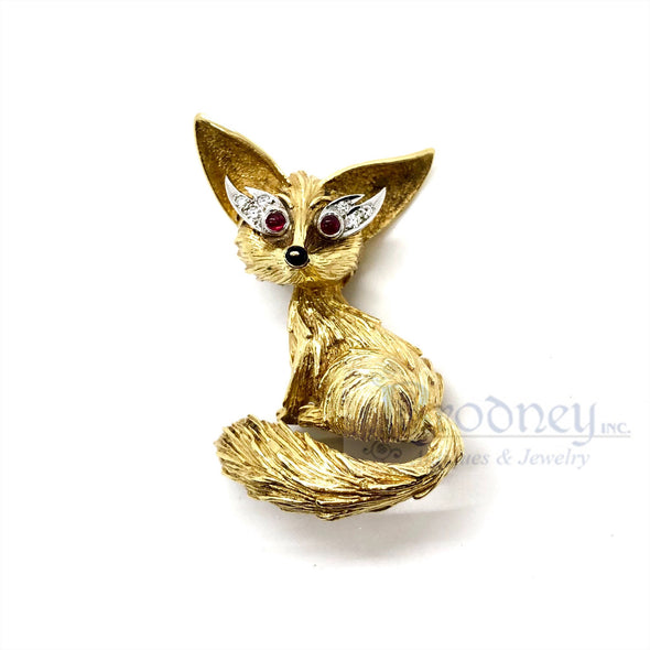 18kt Gold Ruby Diamond and Enamel Fox Brooch