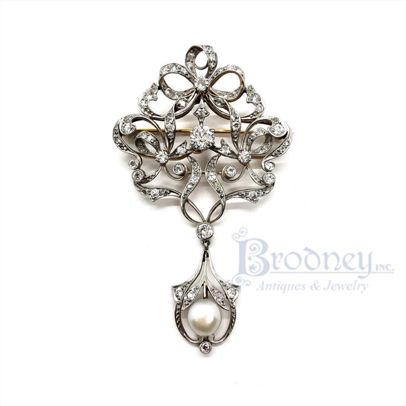 Edwardian Platinum Diamond and Pearl Pin
