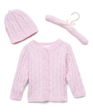 *Cable Knit Cardigan Sweater & Hat - Various Colours