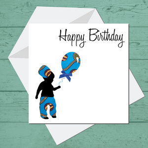Ethnic Black African Birthday Cards  with blue wax print fabric