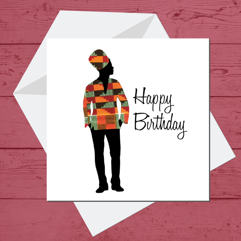 Ethnic Black African Birthday Cards  with man wearing kente African wax print dashiki
