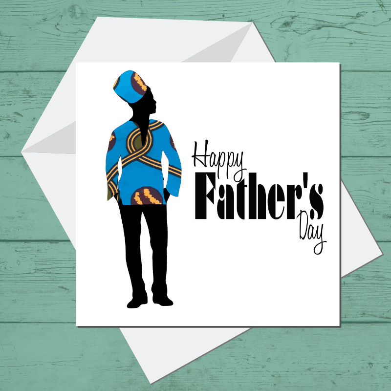 Ethnic Black African Father's day Cards  with Kente wax print fabric