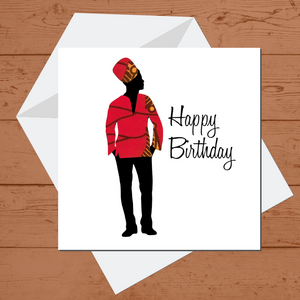 Ethnic Black African Birthday Cards  with woman wearing red African wax print dashiki