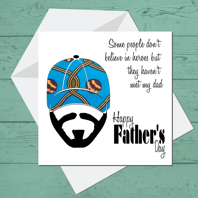 Ethnic Black African Fathers day card  with red wax print fabric