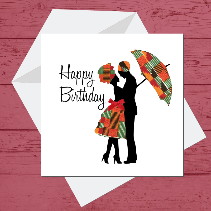 Ethnic Black African Birthday Card with couple wearing kente African wax print clothes