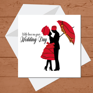 Ethnic Black African Wedding day  card finished with wax African print fabric