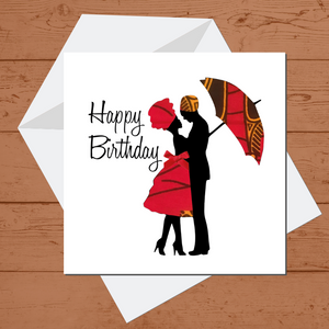 Ethnic Black African Birthday Card with couple wearing red African wax print clothes