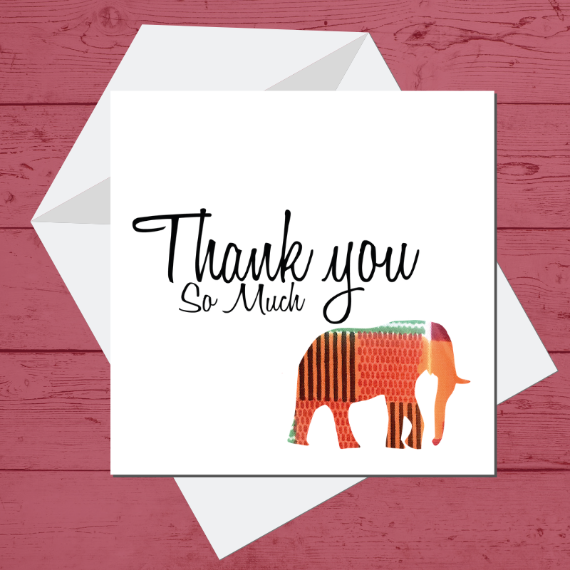 Ethnic Black African  thank you card with kente African Wax print elephant