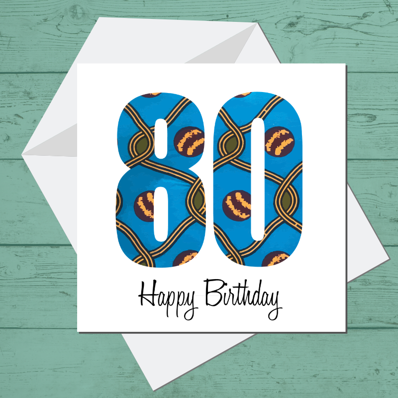 Ethnic Black African Birthday card finished with wax African print fabric