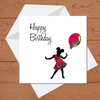 Ethnic Black African Birthday Card with little girl wearing red African wax print dress
