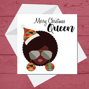Ethnic Black African  Christmas card of  woman with afro wearing kente African Wax print hat