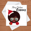 Ethnic Black African  Christmas card of  woman with afro wearing red African Wax print hat