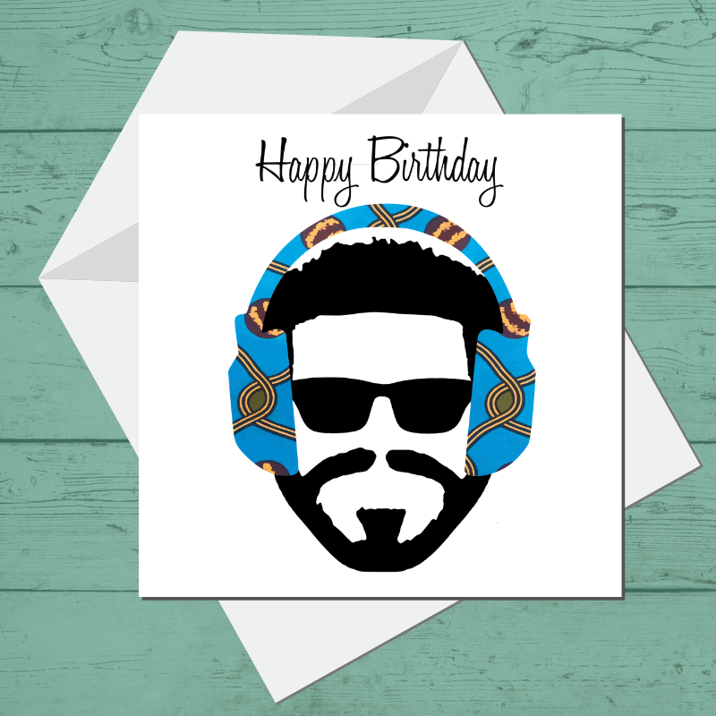Ethnic Black African Birthday Cards with blue wax print headphones