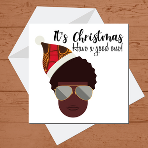 Ethnic Black African Christmas card finished with wax African print fabric