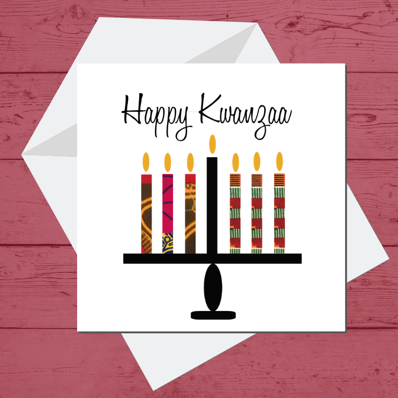 Ethnic Black African Kwanzaa card finished with wax African print fabric