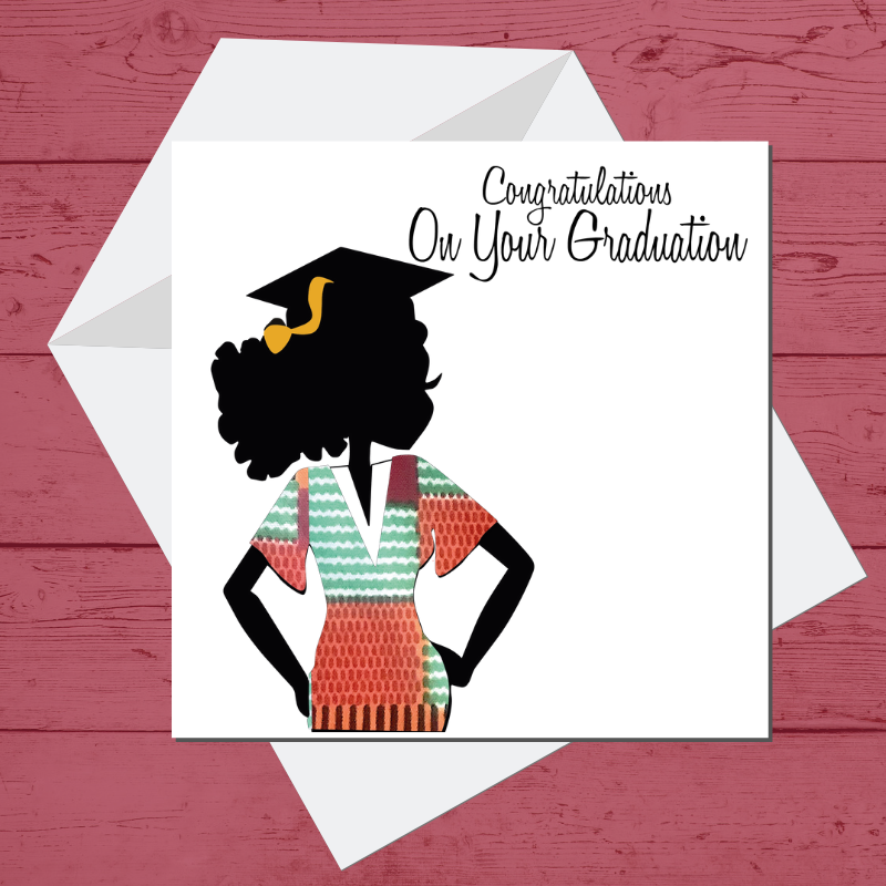 Ethnic Black African Graduation Greeting card finished with wax African print fabric