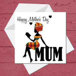 Ethnic Black African Mothers day card finished with wax African print fabric
