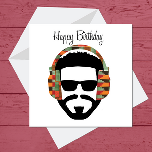 Ethnic Black African Birthday Cards  with man wearing African kente wax print headphones