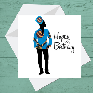 Ethnic Black African Birthday Cards with man wearing blue African wax print dashiki
