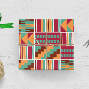 Ethnic Black African inspired wrapping paper finished with a wax African print fabric design