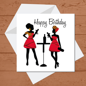 Ethnic Black African Birthday Cards  with Red wax print fabric