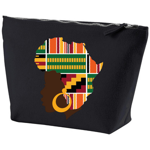 Ethnic Black African canvas makeup bag finished with wax African print fabric