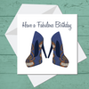 Ethnic Black African Birthday Card with  blue African wax print high heel shoes