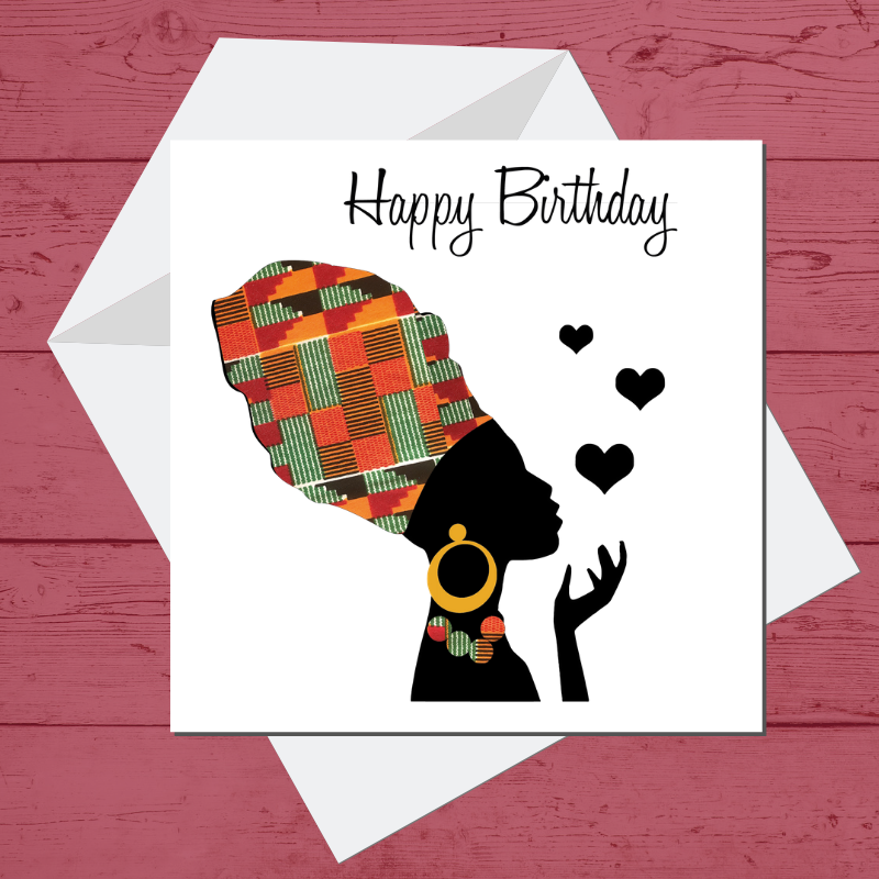 Ethnic Black African Greeting card finished with wax African print fabric