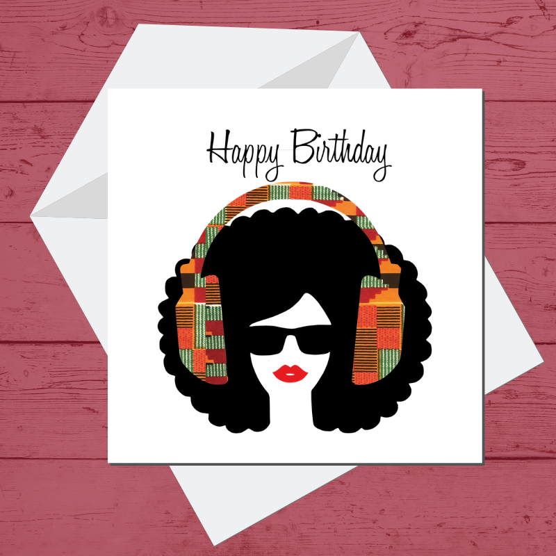 Ethnic Black African Birthday Cards  with kente wax print headphones