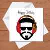 Ethnic Black African Birthday Cards  with man wearing red African wax print headphones