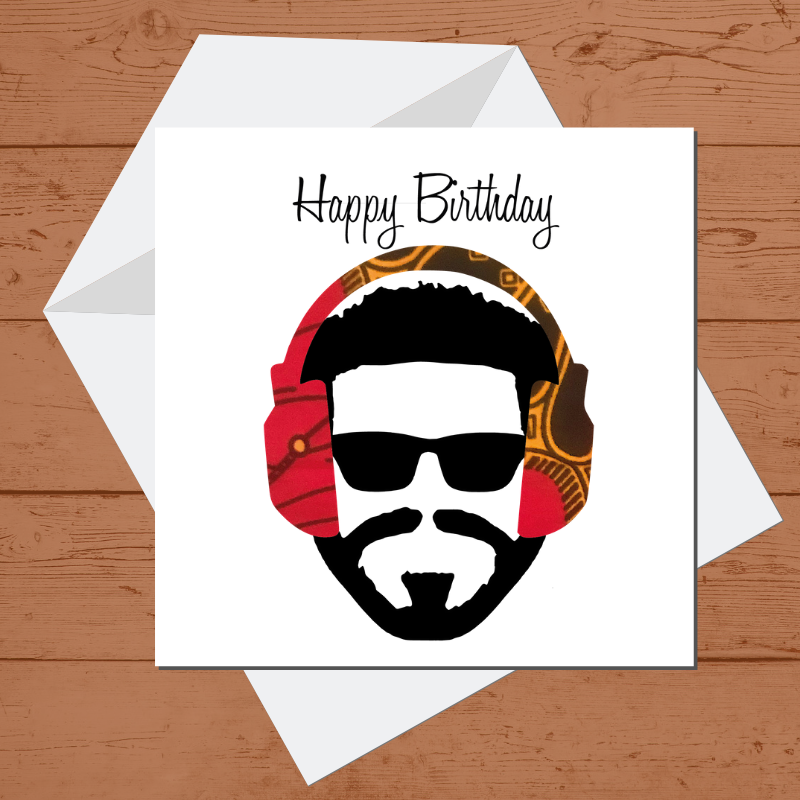 Ethnic Black African Birthday Cards  with man wearing blue African wax print headphones