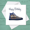 Ethnic Black African Birthday Card with blue African wax print trainers or sneakers