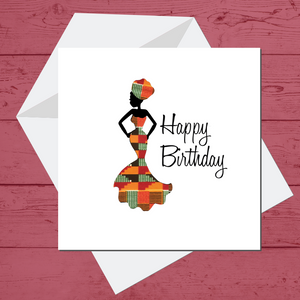 Ethnic Black African Birthday Cards  with woman wearing Kente African wax print dress