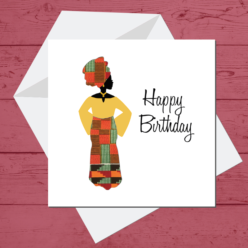 Ethnic Black African Birthday Cards with Kente wax print fabric