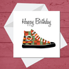 Ethnic Black African Birthday Card with kente African wax print trainers or sneakers