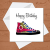Ethnic Black African Birthday Card with  red African wax print trainers or sneakers