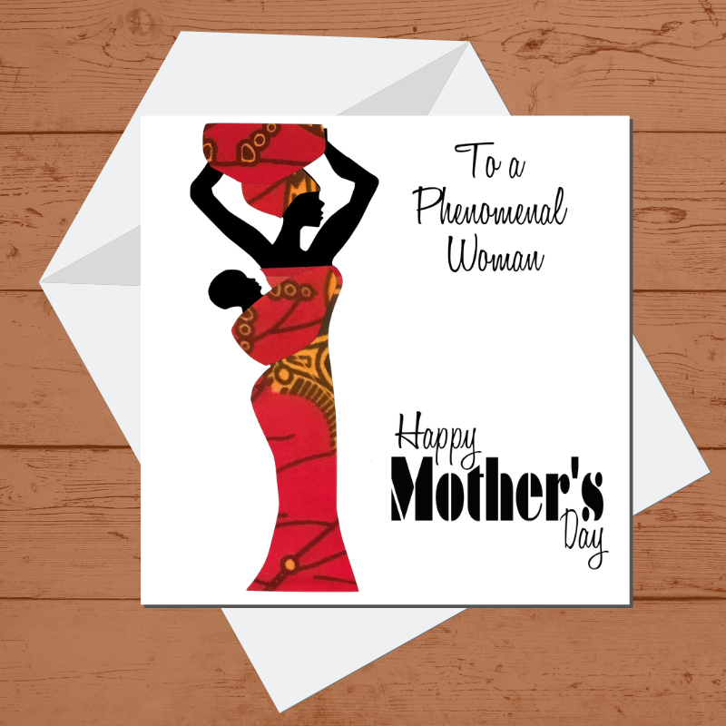 Ethnic Black African Mother's day card finished with wax African print fabric