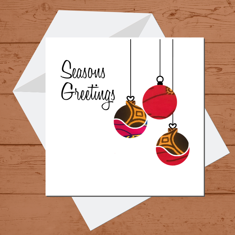 Ethnic Black African  Christmas card with red African Wax print baubles