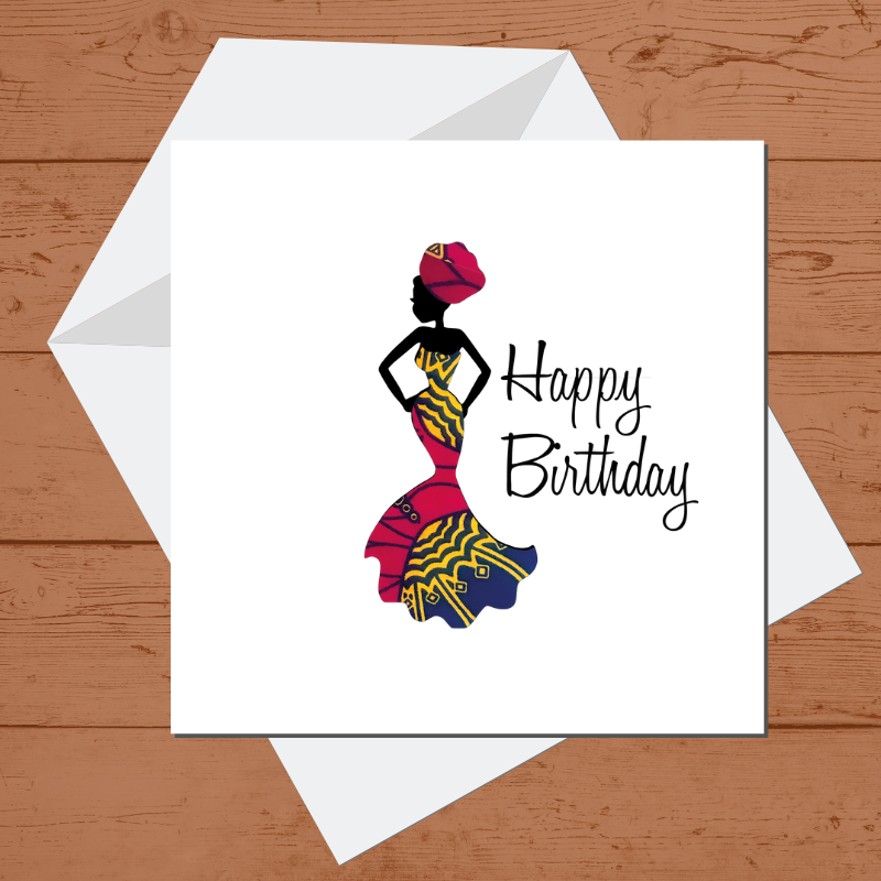 Ethnic Black African Birthday Cards  with woman wearing red African wax print dress