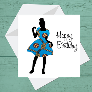 Ethnic Black African Birthday Card with little girl wearing blue African wax print dress