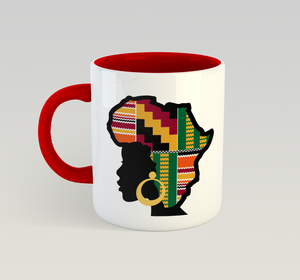 Ethnic Black African Coffee Mug with red inner and handle and African image