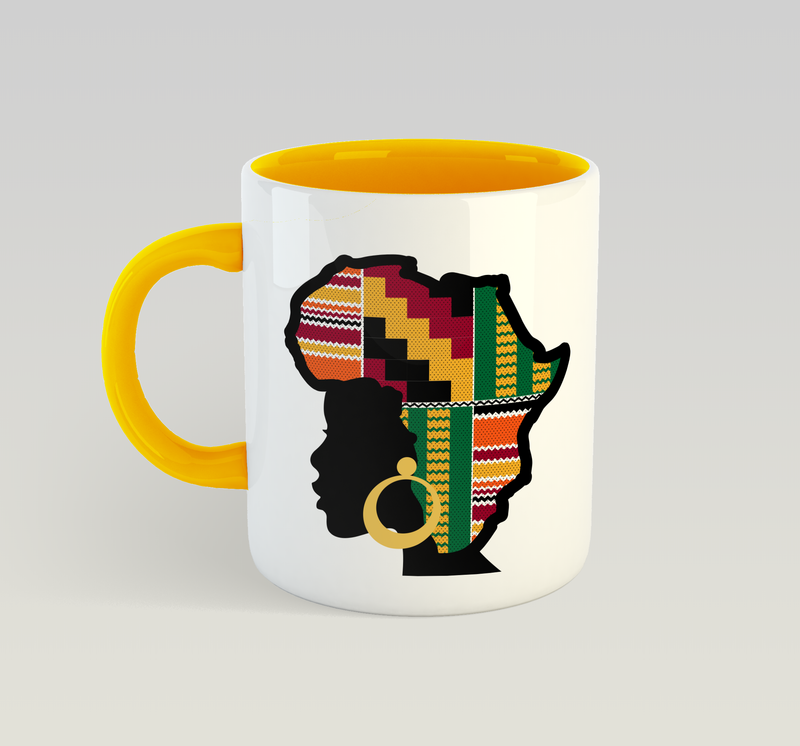 Ethnic Black African Mug in yellow with African map in Kente African wax print fabric