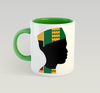 Ethnic Black African Coffee Mug with green inner and handle and African image
