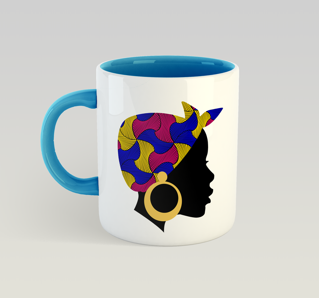 Ethnic Black African Coffee Mug with blue inner and handle and African image