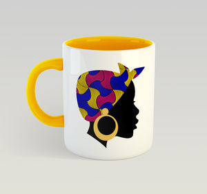 Ethnic Black African Coffee Mug with yellow inner and handle and African image