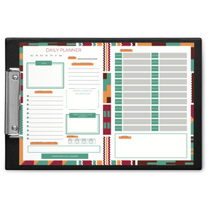 Ethnic Black African daily planning pad finished with African print border