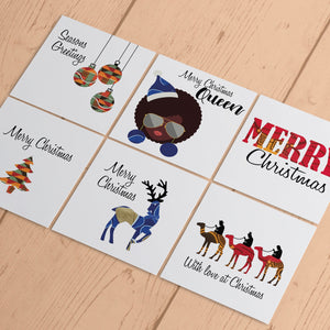 Ethnic Black African Christmas cards finished with wax African print fabric